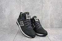 Мужские кроссовки кожаные зимние черные-серые New Mercury круз ч-с