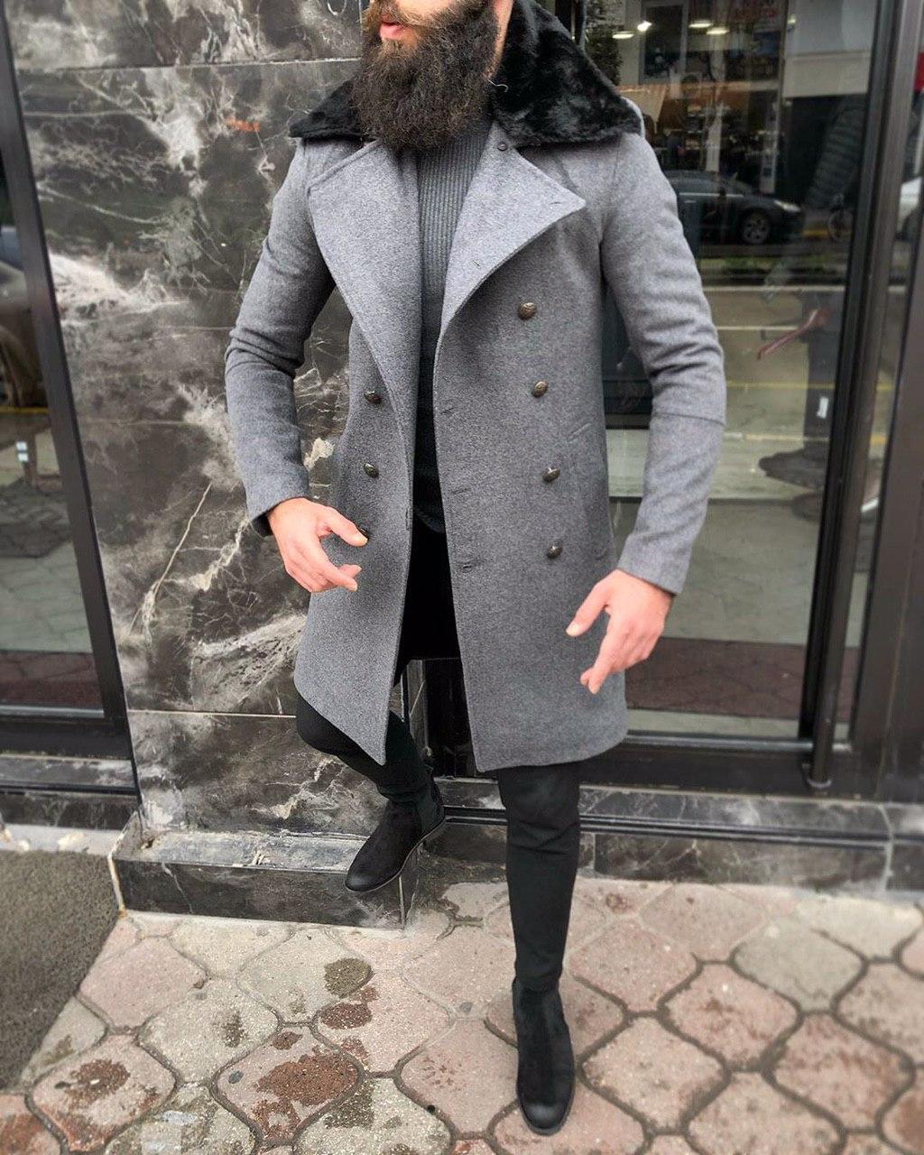 😜 Пальто Чоловіче темно-сіре пальто з хутряним коміром