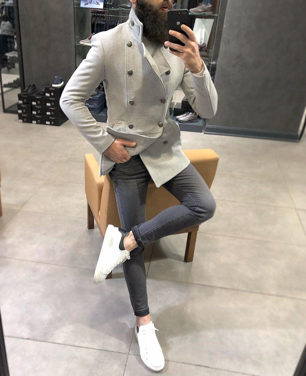 😜 Пальто - Мужское светло-серое пальто с  воротником стойка