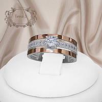 """Красивое женское кольцо из серебра 925 пробы с золотым пластинами 375 пробы и белыми фианитами """"Тина 3"""""""