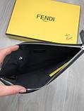 Стильний Шкіряний чоловічий гаманець на блискавці Fendi чорний Преміум натуральна шкіра Брендовий клатч Фенді копія, фото 7