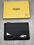 Стильний Шкіряний чоловічий гаманець на блискавці Fendi чорний Преміум натуральна шкіра Брендовий клатч Фенді копія, фото 3
