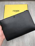 Стильний Шкіряний чоловічий гаманець на блискавці Fendi чорний Преміум натуральна шкіра Брендовий клатч Фенді копія, фото 4