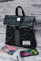 Модный джинсовый рюкзак с клапаном черный 6342-7.