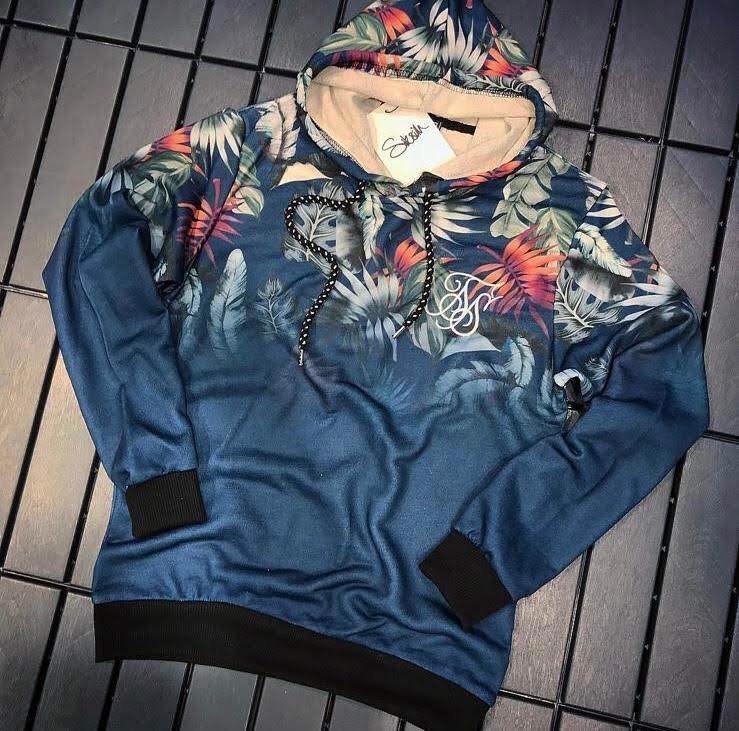 Худи - Мужская худи синяя с узорами