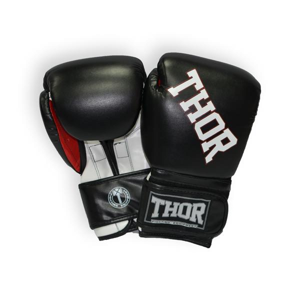 Боксерские перчатки THOR RING STAR (PU) BLK-WHITE-RED