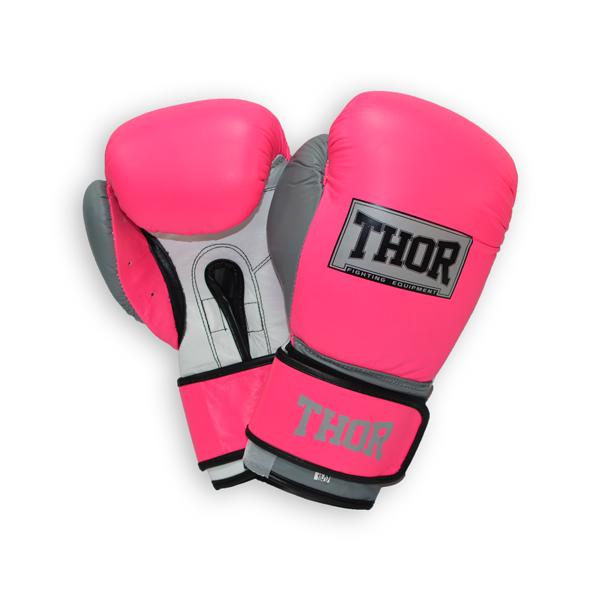 Боксерские перчатки THOR TYPHOON (PU) PINK-GREY-WHT