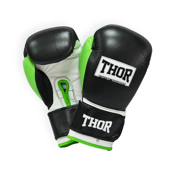 Боксерские перчатки THOR TYPHOON (Leather) BLK-GRN-WHT