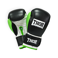 Боксерские перчатки THOR TYPHOON (Leather) BLK-GRN-WHT, фото 1