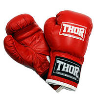 Боксерские перчатки THOR JUNIOR (Leather) RED, фото 1