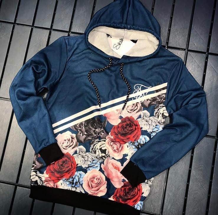 Худи - Мужская худи синяя с розами