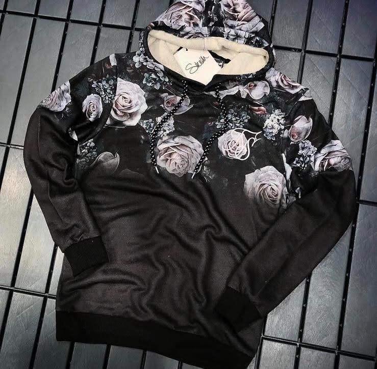 Худи - Мужская худи черная с розами
