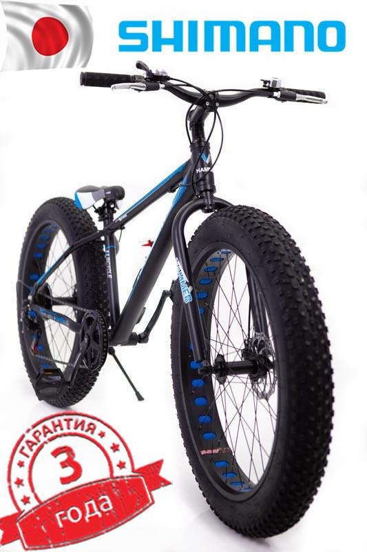 """Fat Bike Горный Велосипеды  S800 HAMMER EXTRIME"""" Колёса 24''х4,0. Алюминиевая рама 14'' Япония Shimano."""