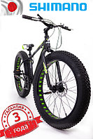 """Fat Bike Горный Велосипеды  S800 HAMMER EXTRIME"""" Колёса 24''х4,0. Алюминиевая рама 14'' Япония Shimano. Черно-Зеленый"""