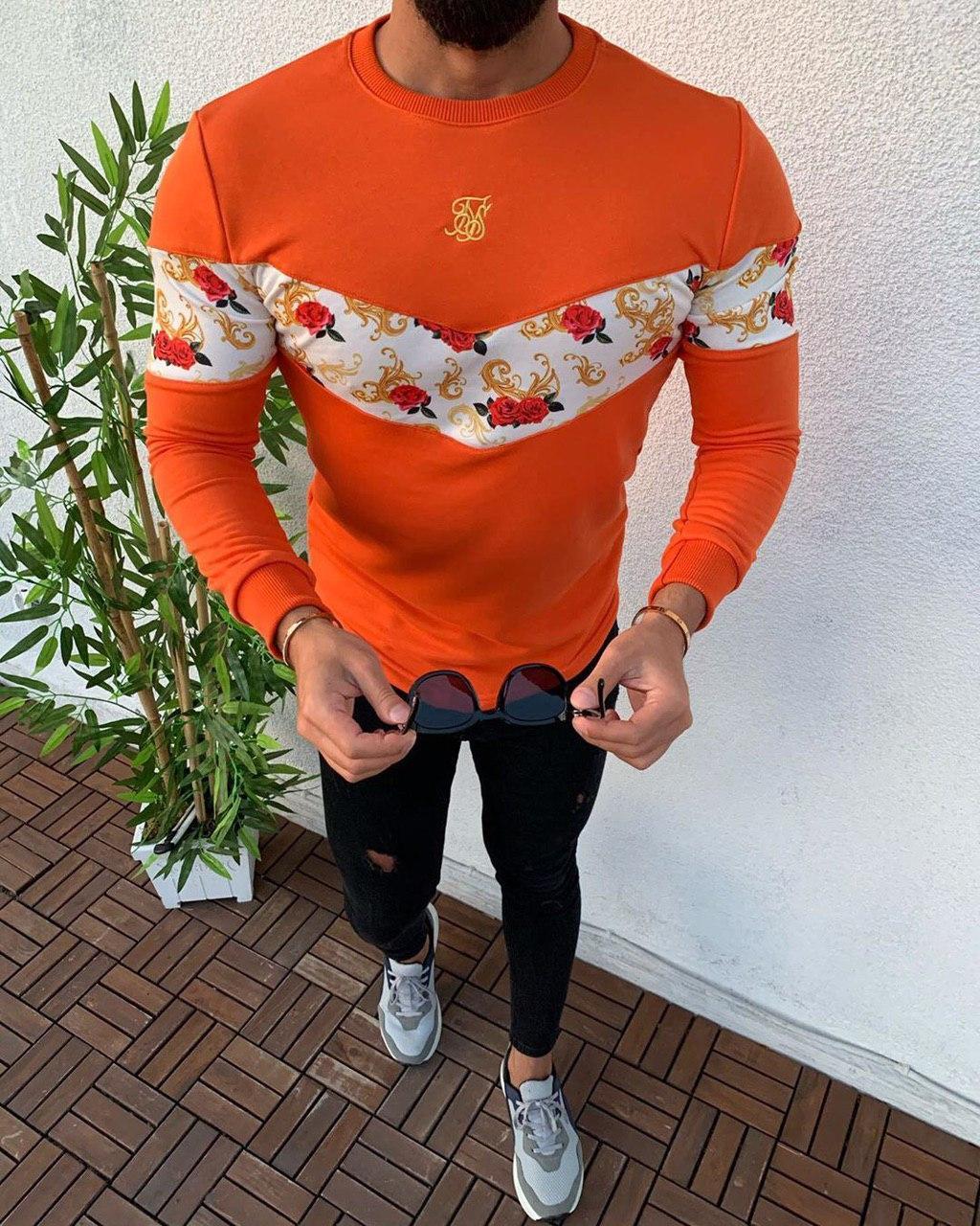 😜 Свитшот - Мужской свитшот оранжевый  с белой вставкой