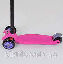 Самокат MAXI для девочек от 3 лет, 4 колеса, свет, PU. Детский транспорт. Розовый, фото 3
