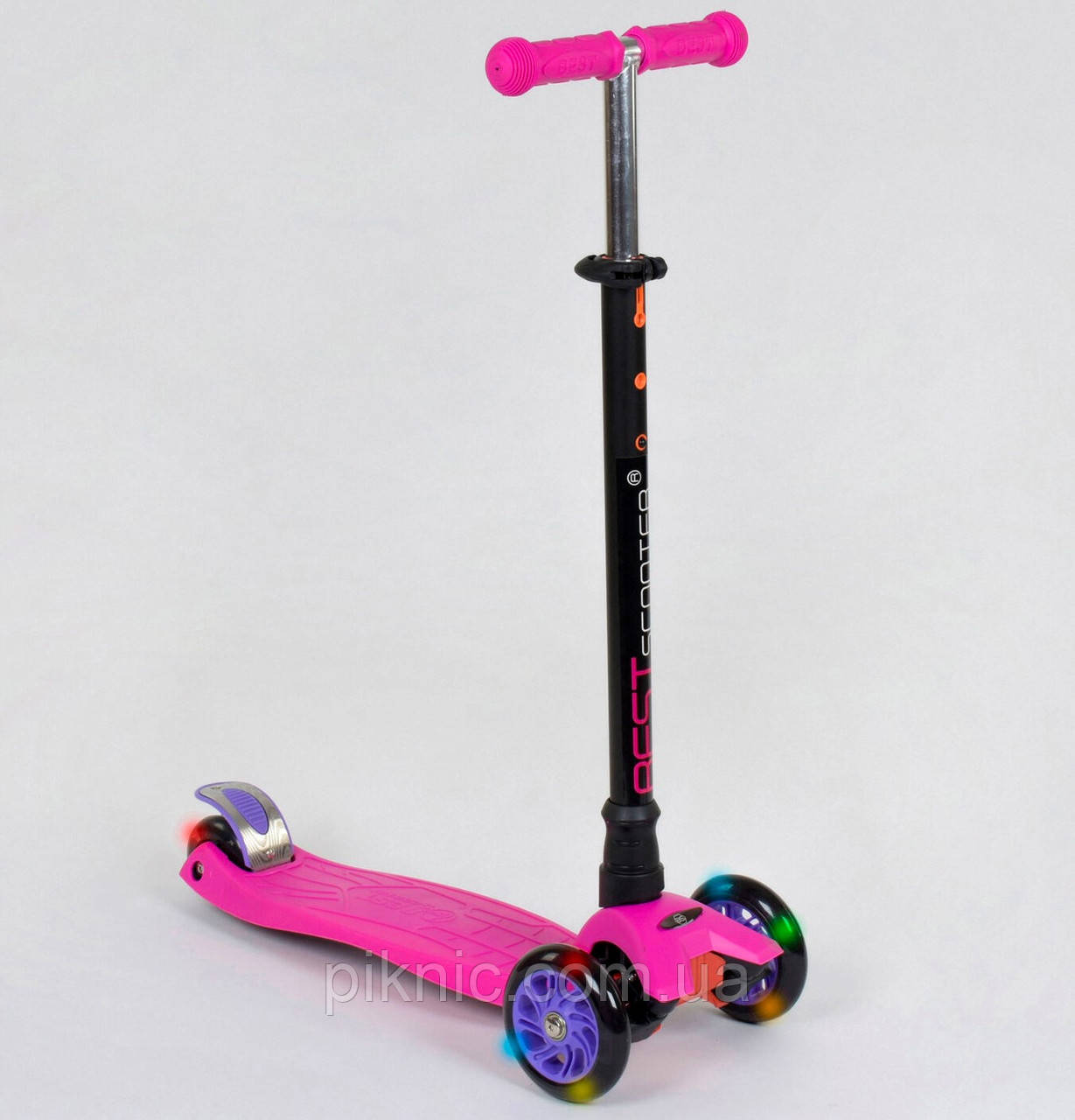 Самокат MAXI для девочек от 3 лет, 4 колеса, свет, PU. Детский транспорт. Розовый