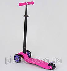 Самокат MAXI для девочек от 3 лет, 4 колеса, свет, PU. Детский транспорт. Розовый, фото 2
