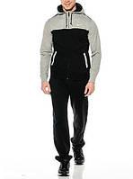 Теплый спортивный костюм, костюм на флисе Nike, серый верх, черные штаны