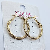 Ювелирная бижутерия серьги-кольца Xuping покрытые золотом 18К