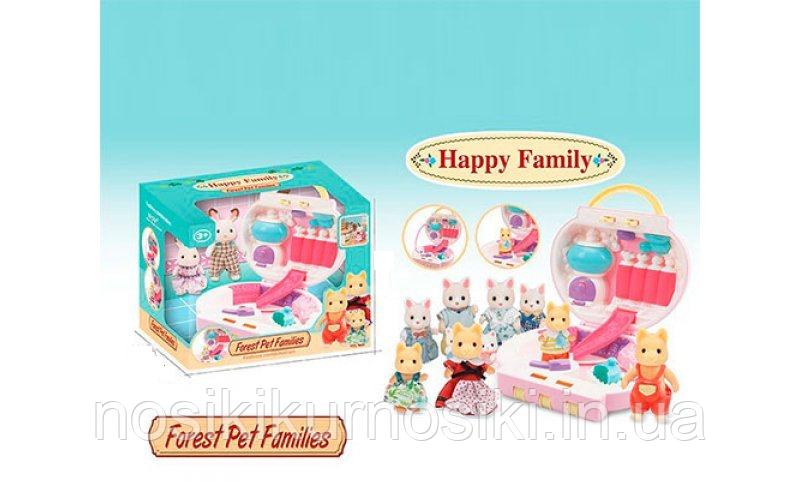 Домик - чемодан с кодом pocket Happy Family - 2 фигурки, арт 20046 флоксовые животные