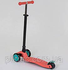 Самокат MAXI для детей от 3 лет, 4 колеса, свет, PU. Детский транспорт. Оранжевый, фото 2