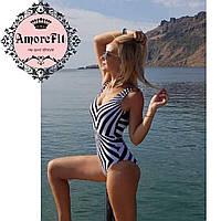 Купальник сдельный Amorefit пуш-ап геометрический принт