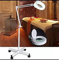 Лампа лупа напольная на колесах на штативе с LED диодами холодного света , увеличение 5 диоптрий