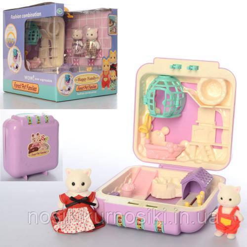 Домик - чемодан с кодом pocket Happy Family - 2 фигурки, арт 20048  флоксовые животные