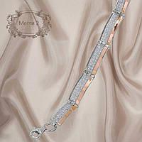 """Красивый женский серебряный браслет с золотыми пластинами и фианитами """"Мегги 2 """""""