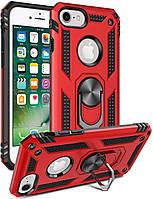 Чехол Shield для Iphone 5 / 5s / SE бронированный Бампер с подставкой Red