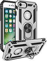 Чехол Shield для Iphone 5 / 5s / SE бронированный Бампер с подставкой Silver