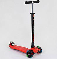 Самокат MAXI для детей от 3 лет, 4 колеса, свет, PU. Детский транспорт. Красный