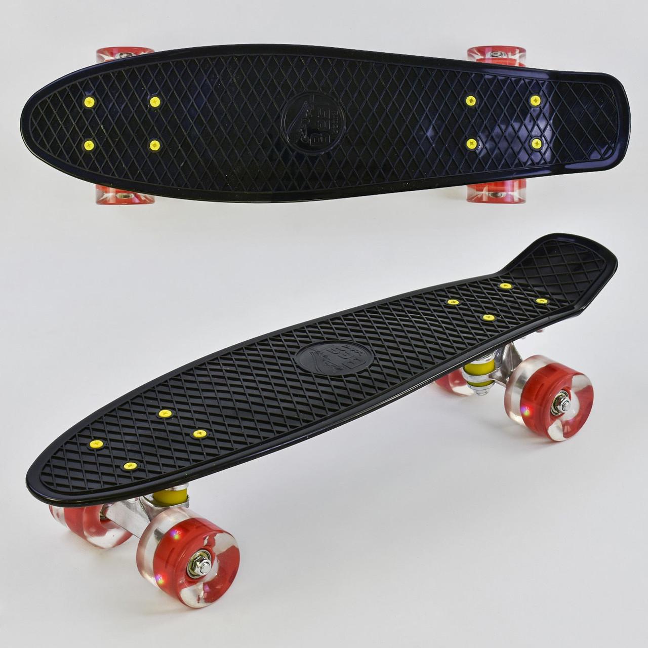 """Скейт Пенні борд (Penny Board) 22"""" Best Board світло колеса чорний"""