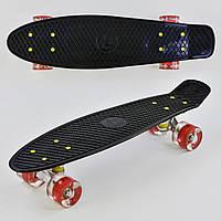 "Скейт Пенни борд (Penny Board) 22"" Best Board свет колеса черный"