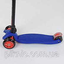 Самокат MAXI для мальчиков от 3 лет, 4 колеса, свет, PU. Детский транспорт. Синий, фото 3