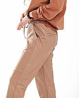 Брюки женские пояс-резинка без манжета Экокожа беж. Оптом