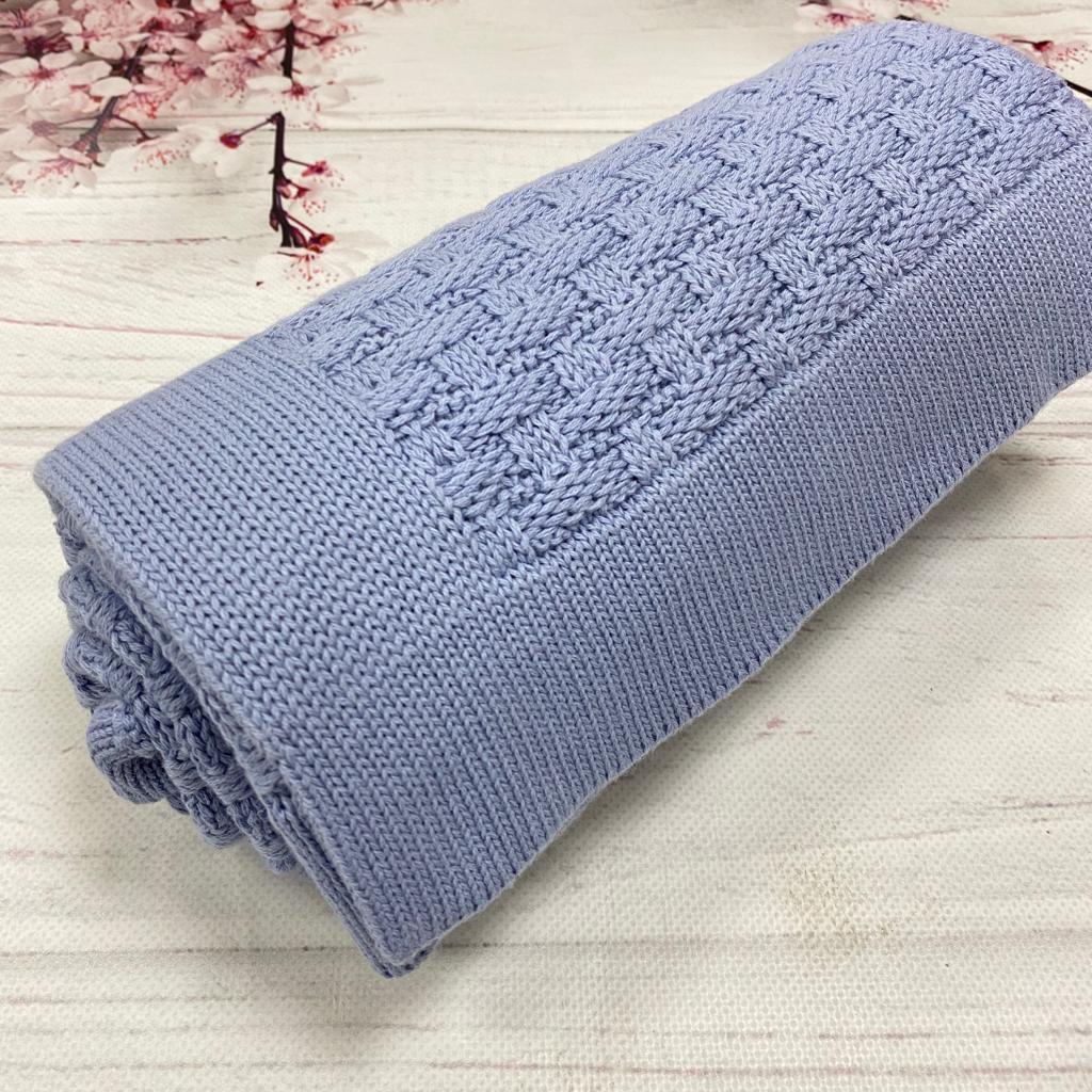 Плед вязанный рогожка цвет голубой 90*70 см (90% хлопок, 10% акрил)