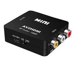 Конвертер видеосигнала AV в HDMI черный