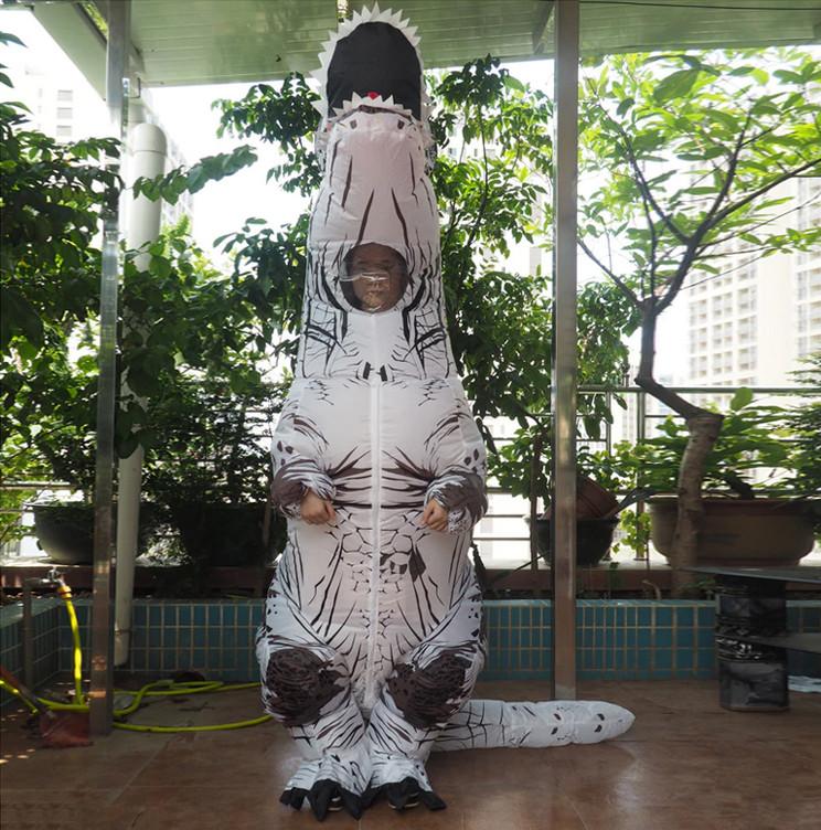 Надувной костюм Тираннозавра, T Rex косплэй, костюм динозавра T-Rex. Тиранозавр надувной (белый)