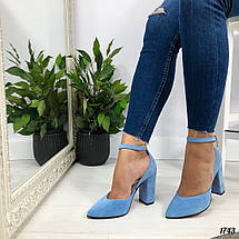Туфли голубые на каблуке, фото 2