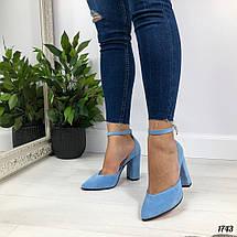 Туфли голубые на каблуке, фото 3