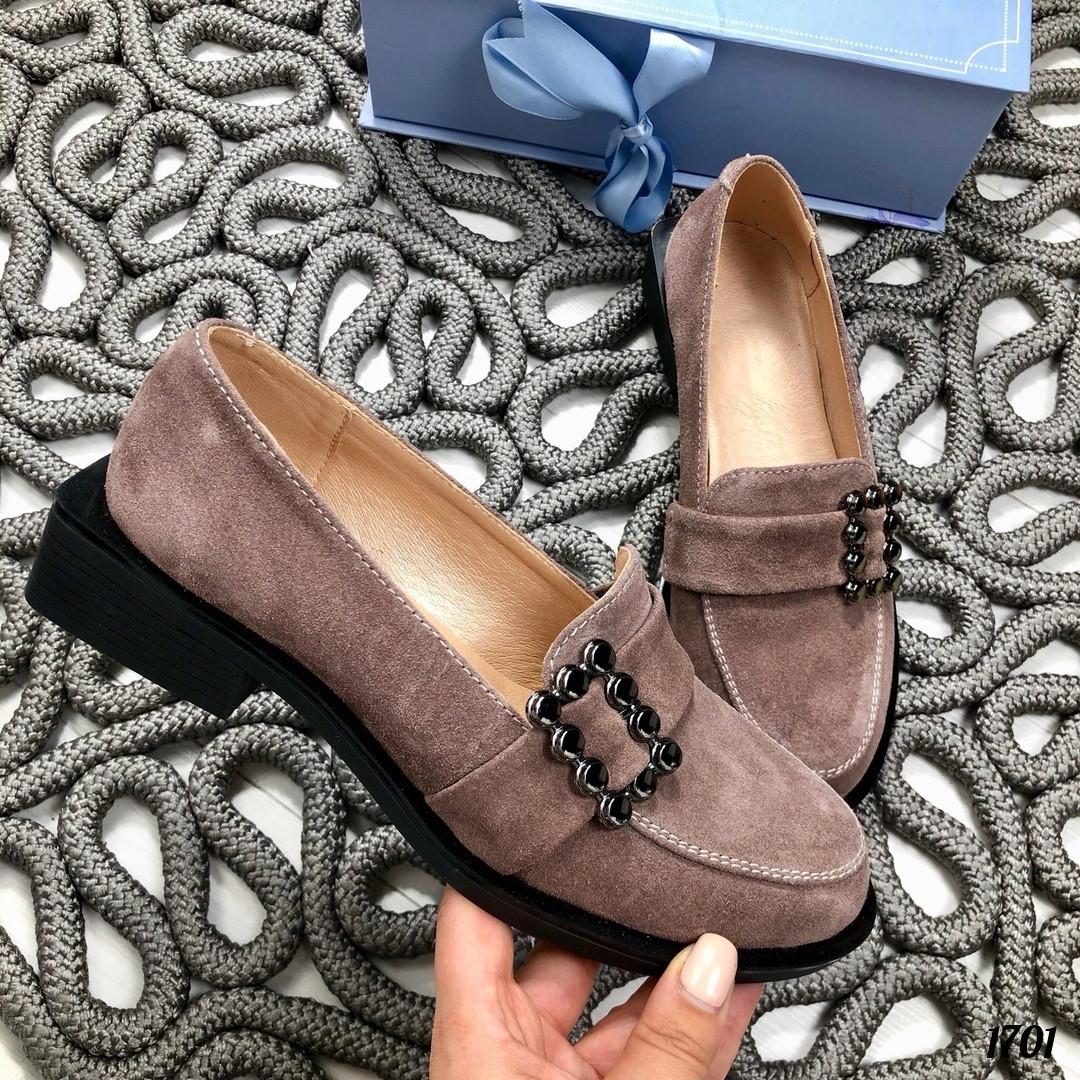 Туфли женские замшевые коричневые