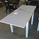 Стол кухонный раскладной обеденный МАРСЕЛЬ 90(+35+35)х70 венге - Аляска- Стекло  ультрабелое, фото 8