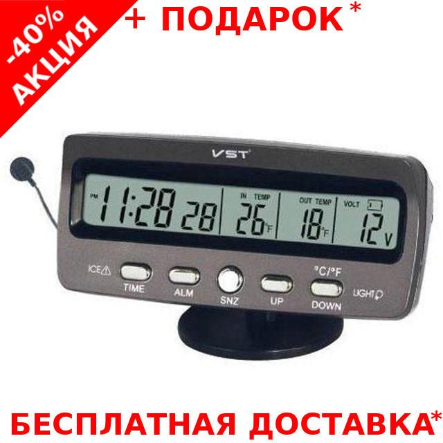 Автомобильные часы на торпеду VST-7045 с датчиком температуры
