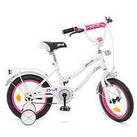 Детский велосипед бело-малиновый PROF1 14Д Y1494 Star прочный качественный для девочки