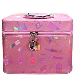 49447 чемодан MakeUp розовый большой с ручкой с принтом, с мульти переливом