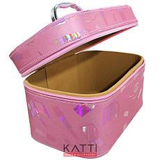 49447 чемодан MakeUp розовый большой с ручкой с принтом, с мульти переливом, фото 3