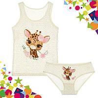 """Комплект для девочки """"Жирафик"""", 2-3 года (рост 98-104) молочный"""
