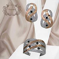 """Женский серебряный набор украшений с золотыми пластинами и черными фианитами """"Наоми"""""""